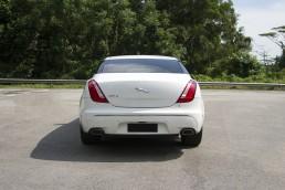 Back of white Jaguar XJL