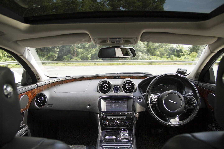 Dashboard of white Jaguar XJL