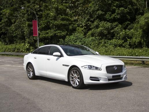 Front of white Jaguar XJL