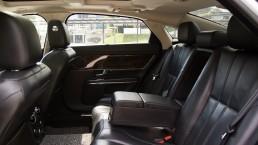Rear seats of white Jaguar XJL