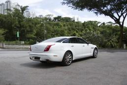 Rear of white Jaguar XJL